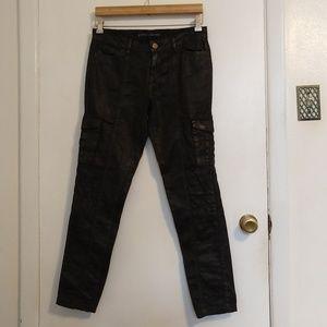 Zara Basic Faux Leather Black Cargo Pants Size 4